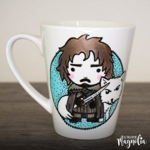 "Tazón pintado a mano de Jon Snow de ""Game of Thrones"""